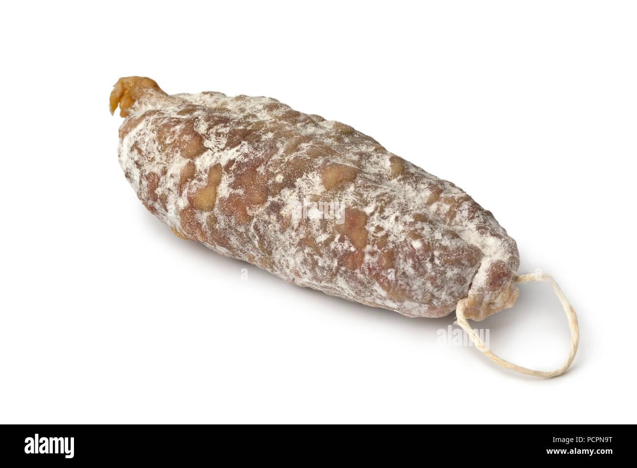 Saucisson sec français isolé sur fond blanc Photo Stock
