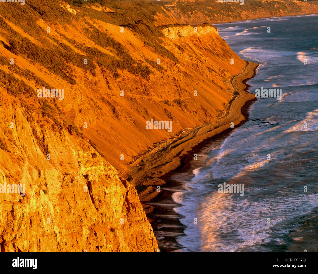 Falaises, Palomarin Beach, sentier de la plage sauvage, Point Reyes National Seashore ; Californie ; comté de Marin en Californie Photo Stock