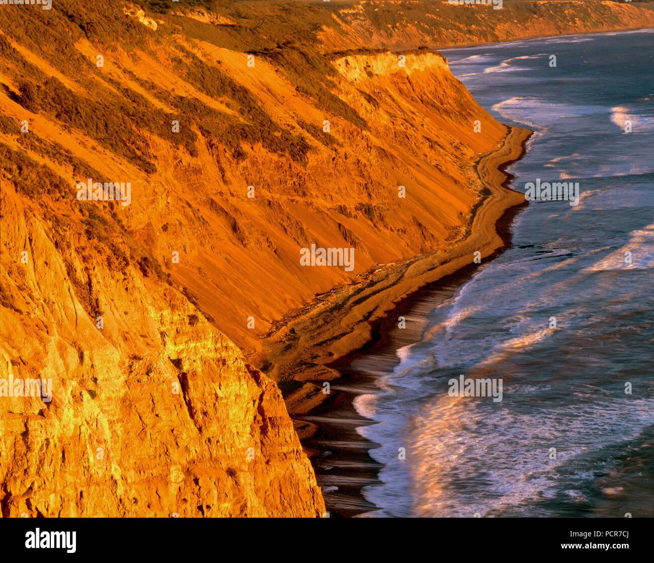 Falaises, Palomarin Beach, sentier de la plage sauvage, Point Reyes National Seashore; Californie; comté de Marin en Californie Photo Stock