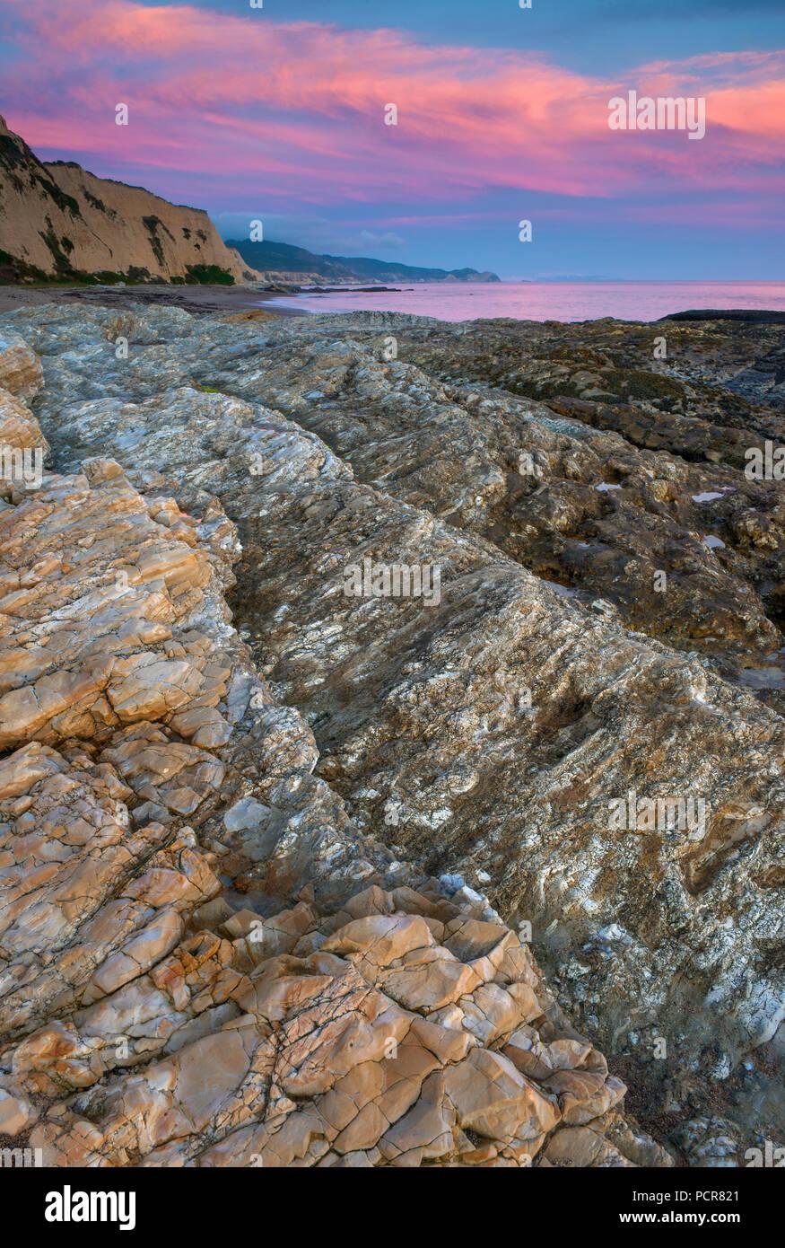 Crépuscule, sculptés Beach, Point Reyes National Seashore, comté de Marin, en Californie Photo Stock