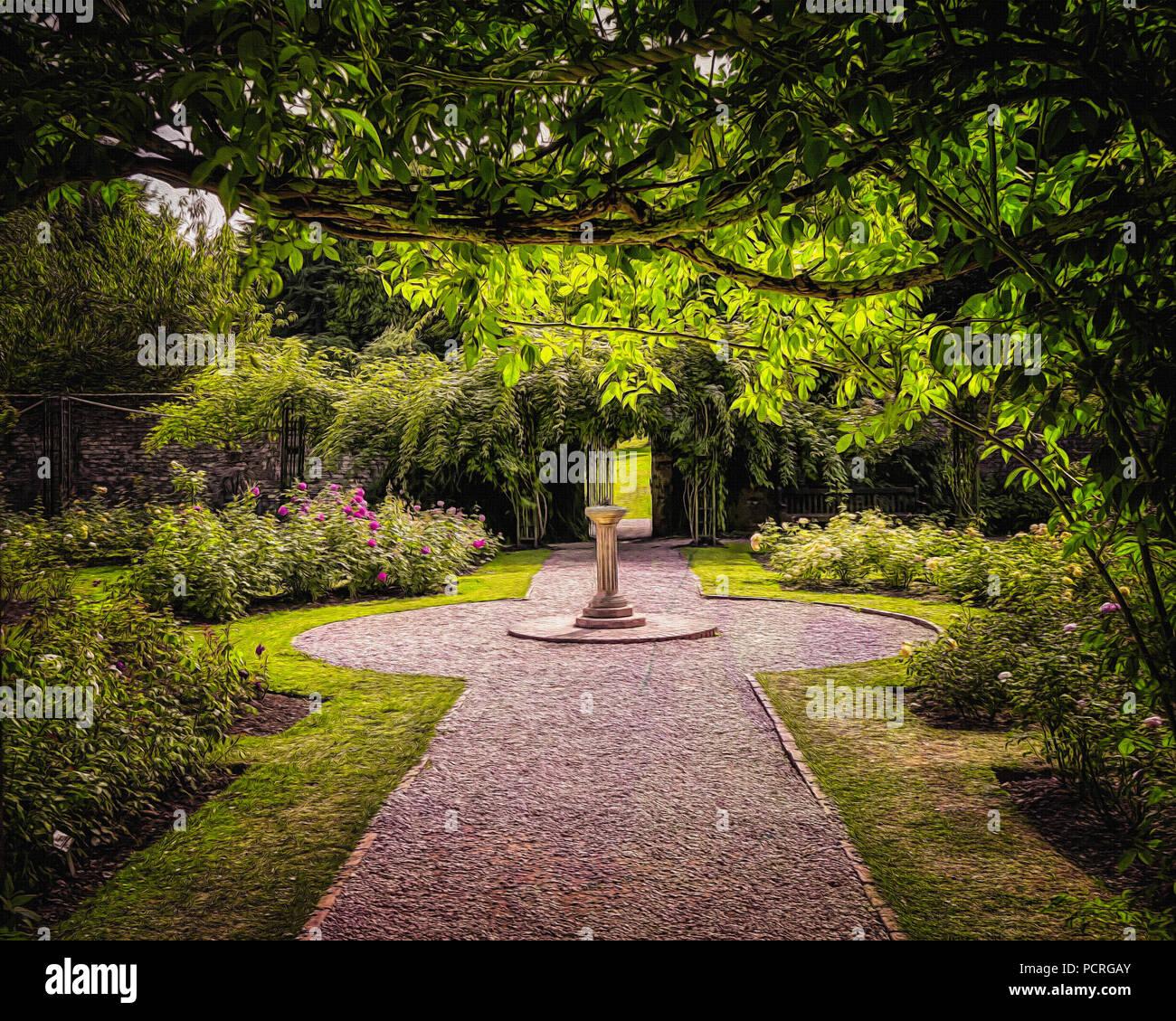 L'art numérique: Le jardin de roses à Cockington Cour Photo Stock