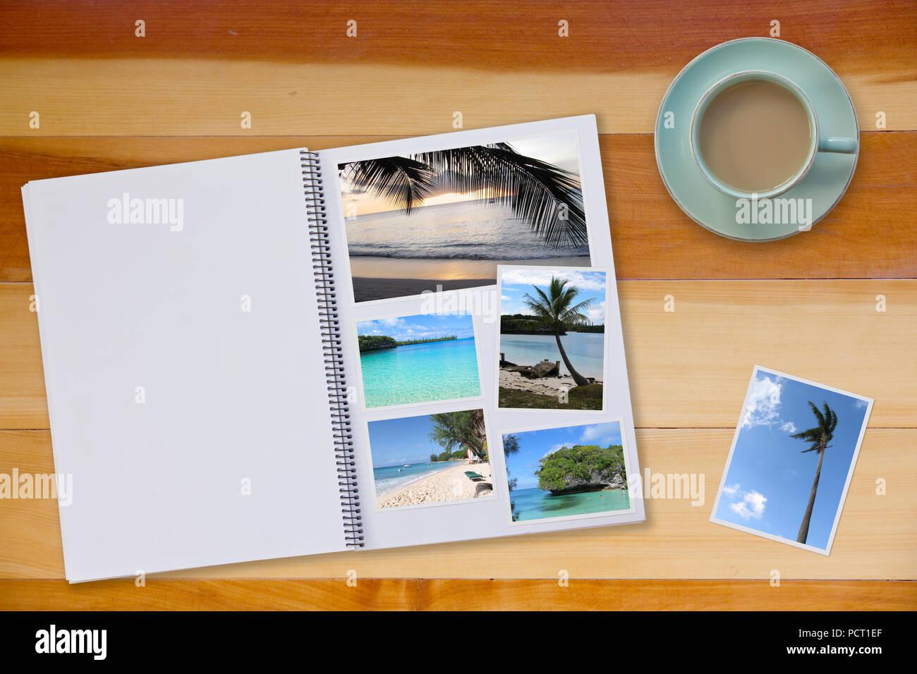 Livre Photo Album sur plancher en bois tableau avec des images de plages et du café ou du thé dans la tasse Photo Stock
