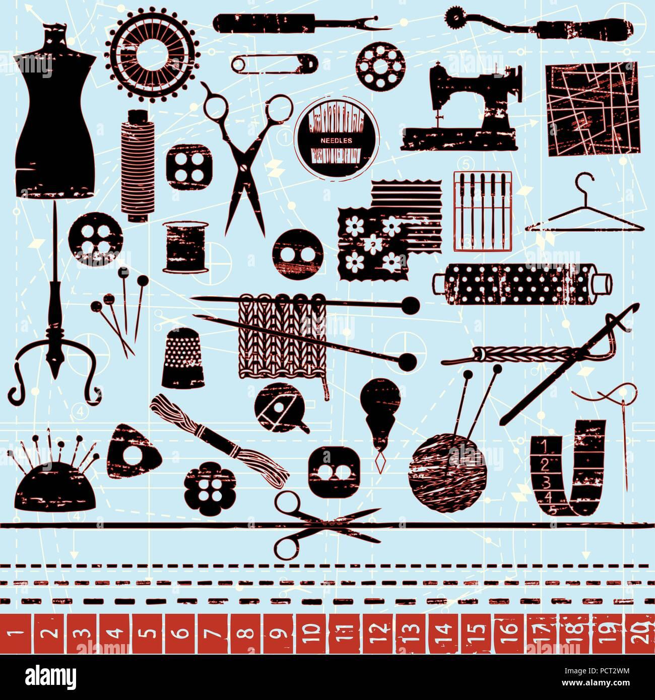 Symboles d'aiguille à coudre et rayé Illustration de Vecteur