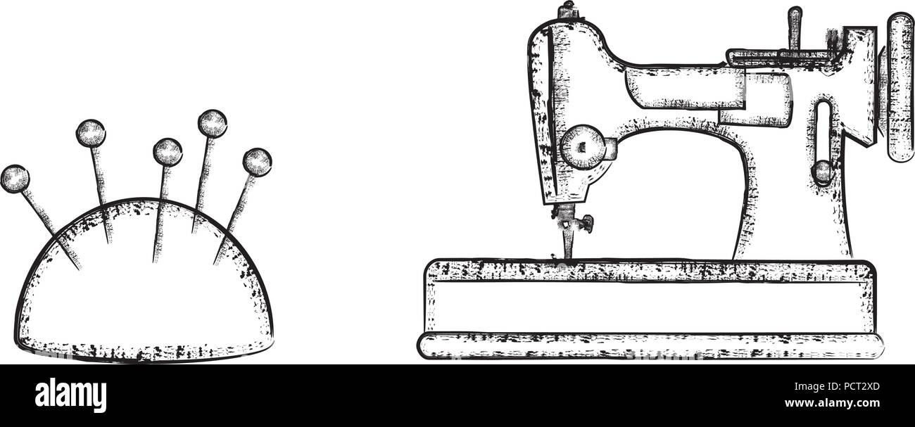 Symboles de couture set 3 Illustration de Vecteur