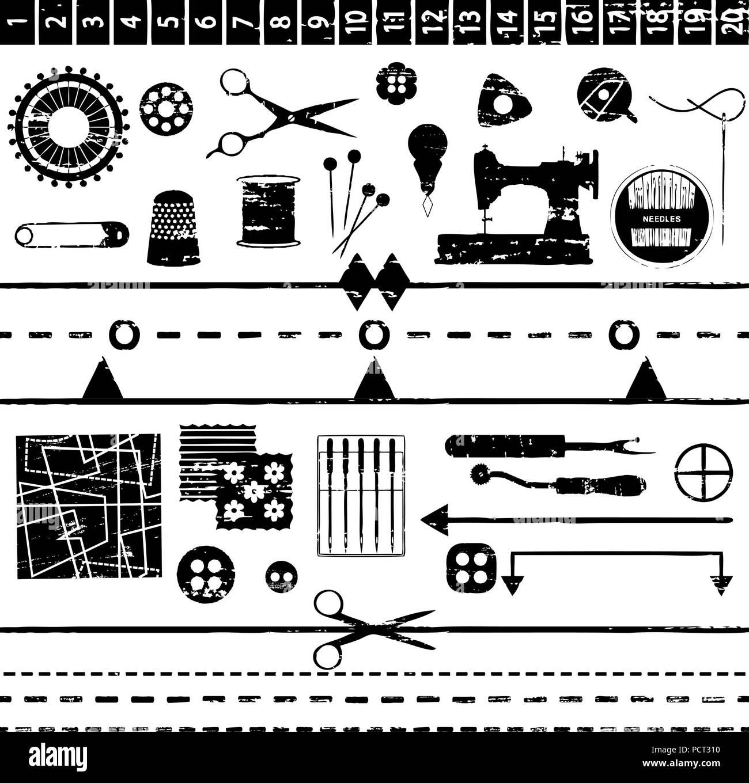 Divers symboles et d'adaptation de couture rayé Illustration de Vecteur