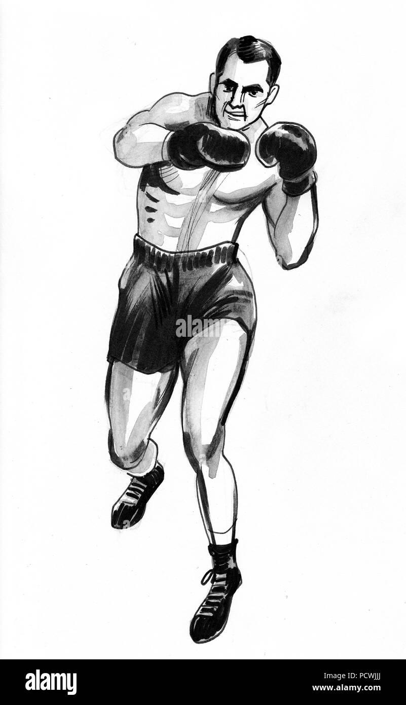 Homme De Boxe Dessin Noir Et Blanc Encre Banque D Images Photo