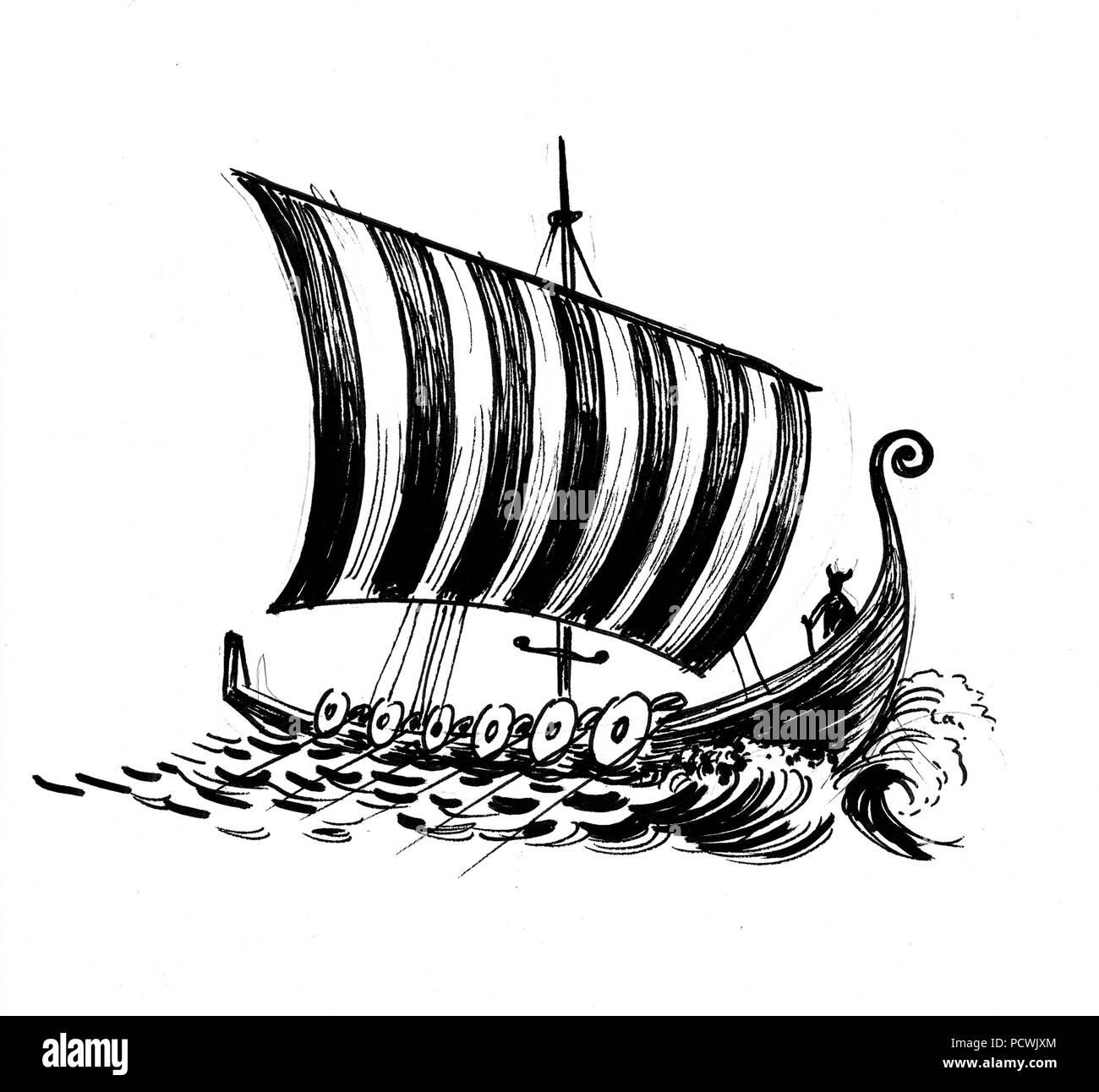 Ancien Bateau Viking Dans La Mer Dessin Noir Et Blanc Encre