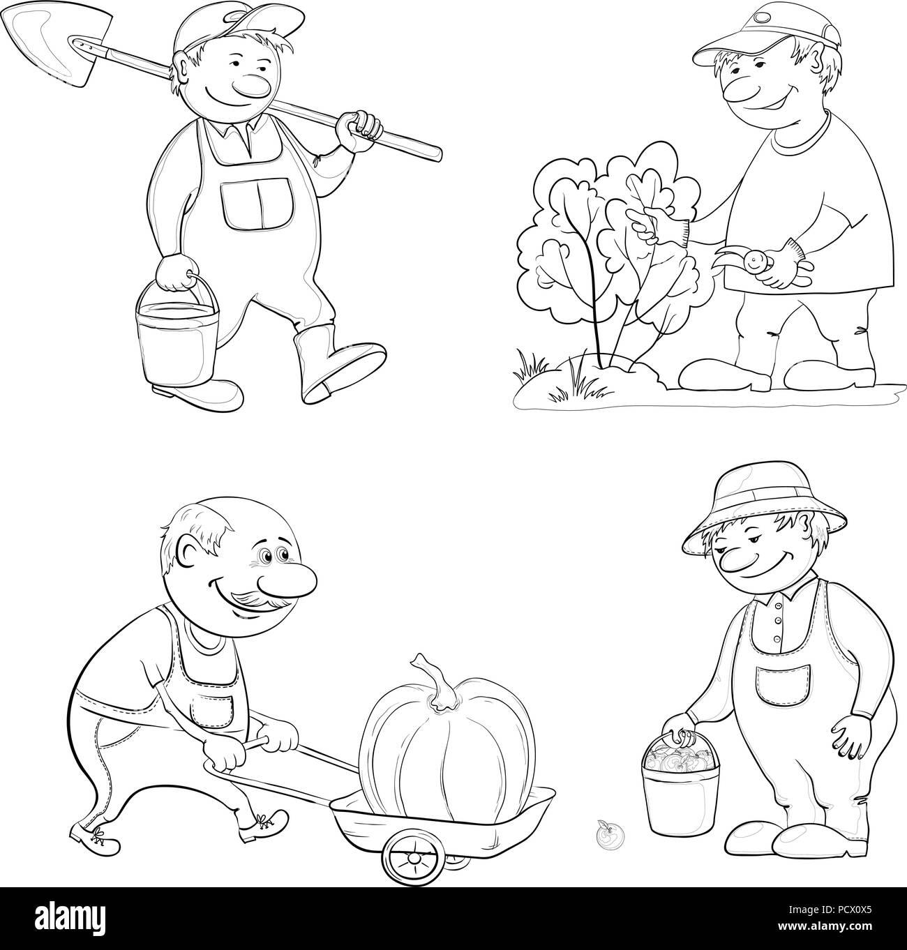 Jardiniers Cartoon Travailler avec un seau et une pelle, des coupes avec des sécateurs, Bush porte chariot avec citrouille, avec la récolte des pommes. Contour noir sur Whi Photo Stock