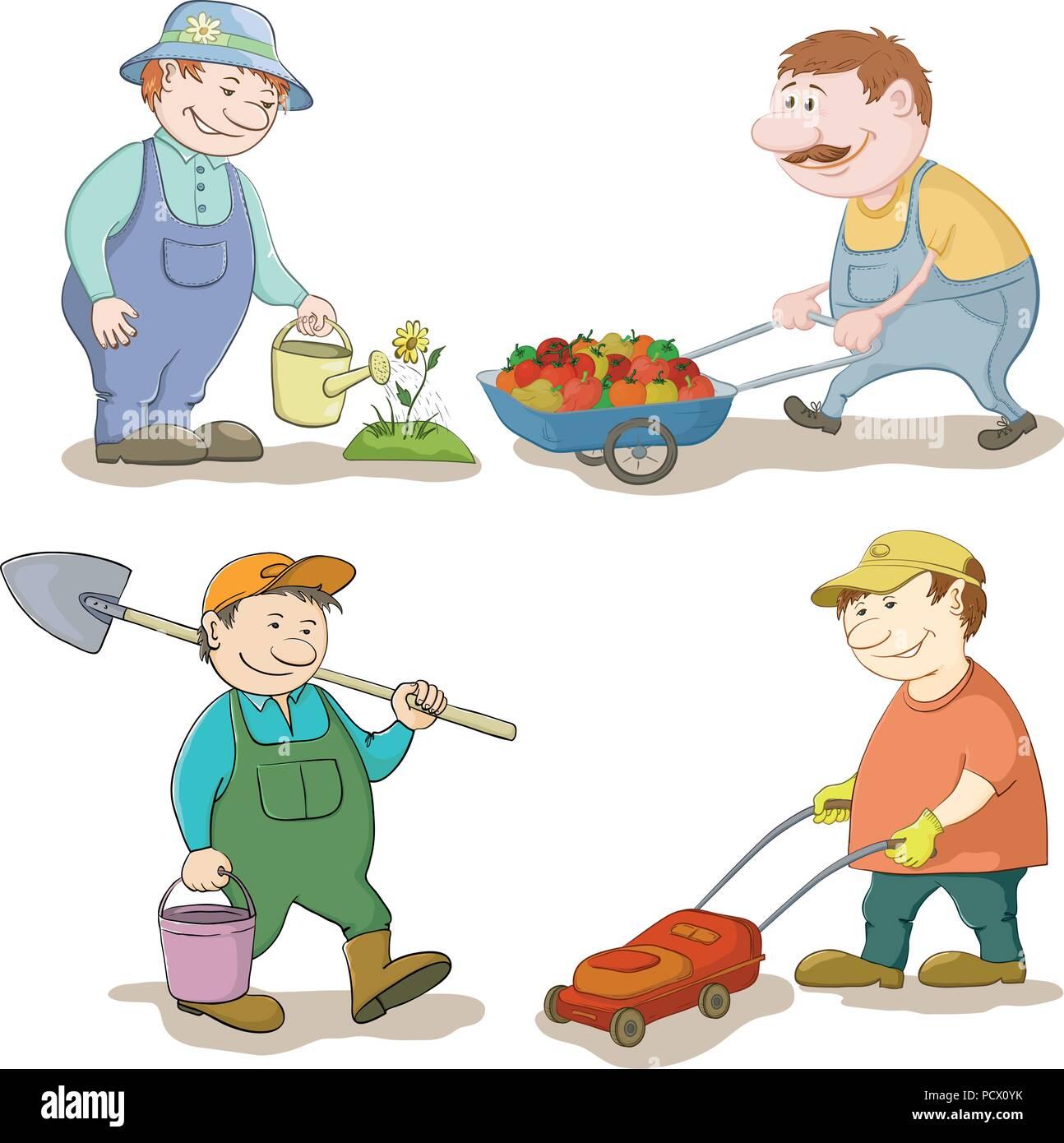 Jardiniers dessin animé: arroser une fleur, porte chariot avec des légumes, avec un seau et spade, avec une tondeuse. Vector illustration Photo Stock