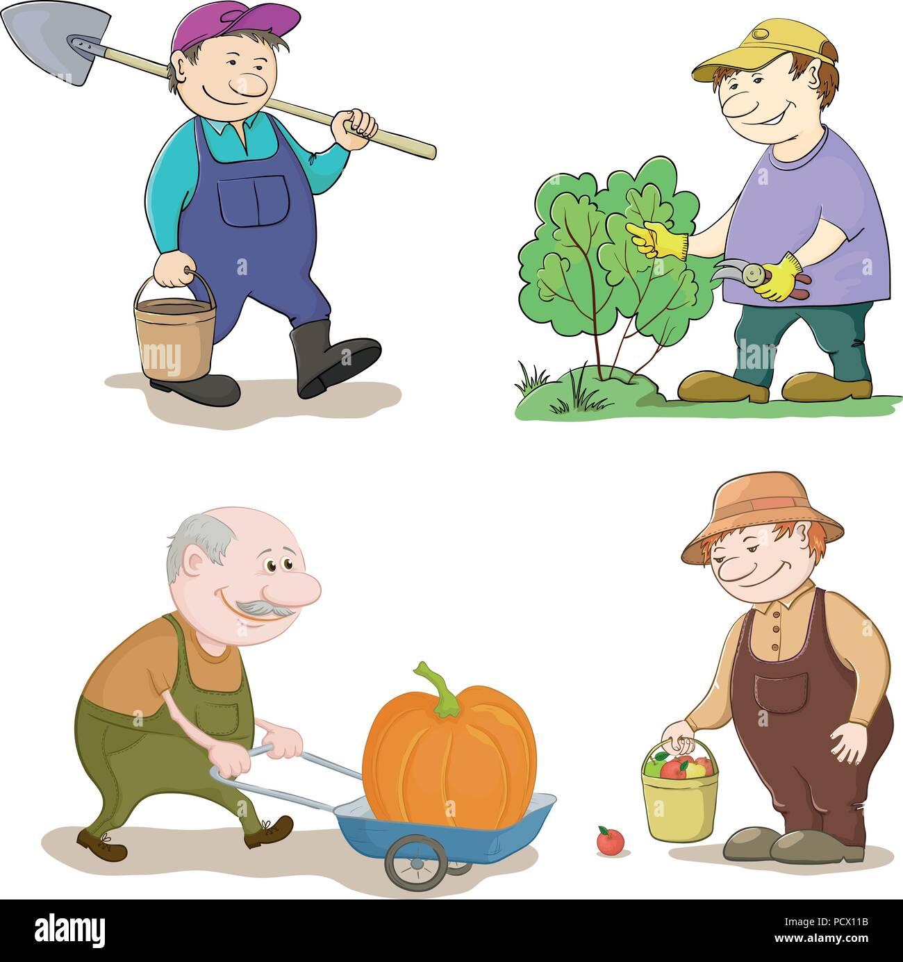 Les Jardiniers, avec Travail de dessin animé un seau et Spade, coupe un buisson avec des sécateurs, porte chariot avec citrouille, avec la récolte de pommes. Vector Photo Stock