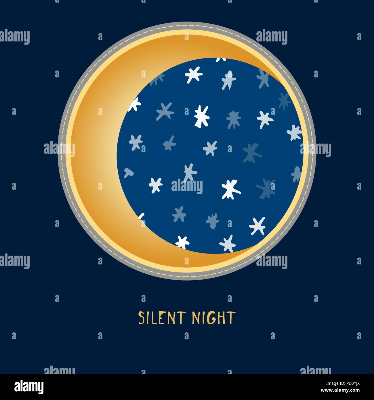 Mignon Bébé Anniversaire Autocollant Avec La Lune Et Les étoiles