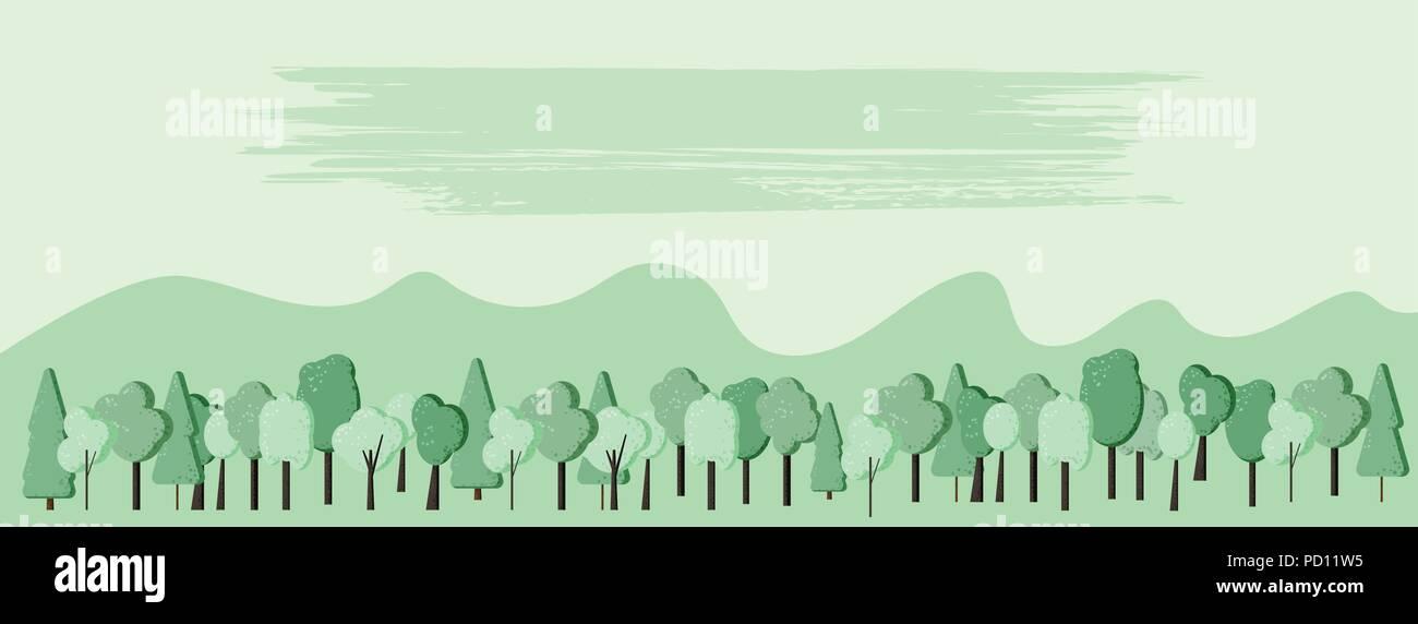 La Composition Du Paysage Arbres Fond Avec Lespace Vide Pour Le Texte Television Decors Vert Design Modele De Carte Visite Banniere