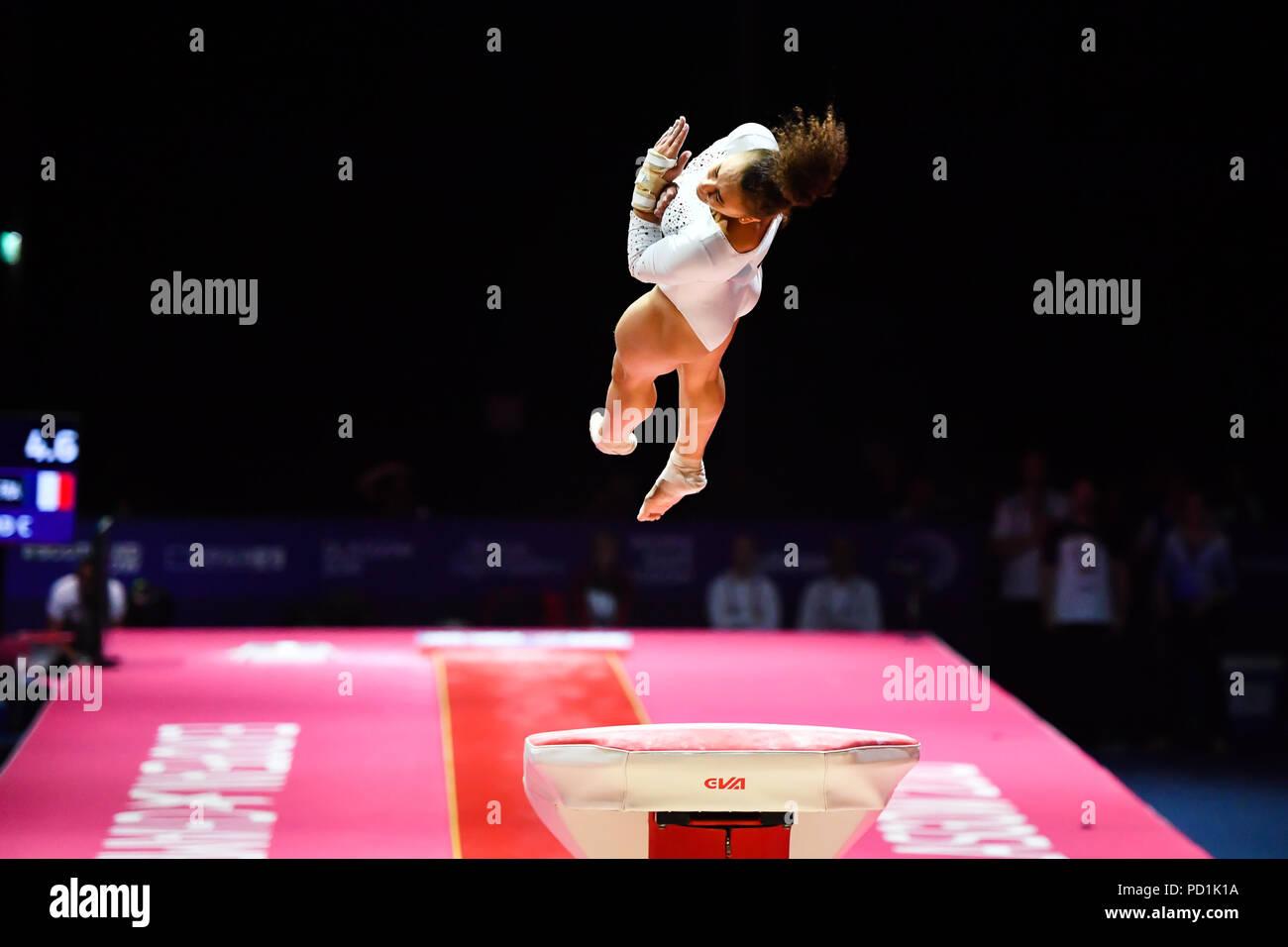 DEVILLARD Coline (FRA) est en concurrence sur la voûte en gymnastique artistique féminine durant la finale de l'appareil European Championships 2018 Glasgow à l'Hydro SSE le dimanche, 05 août 2018. GLASGOW ECOSSE . Credit: Taka G Wu Photo Stock