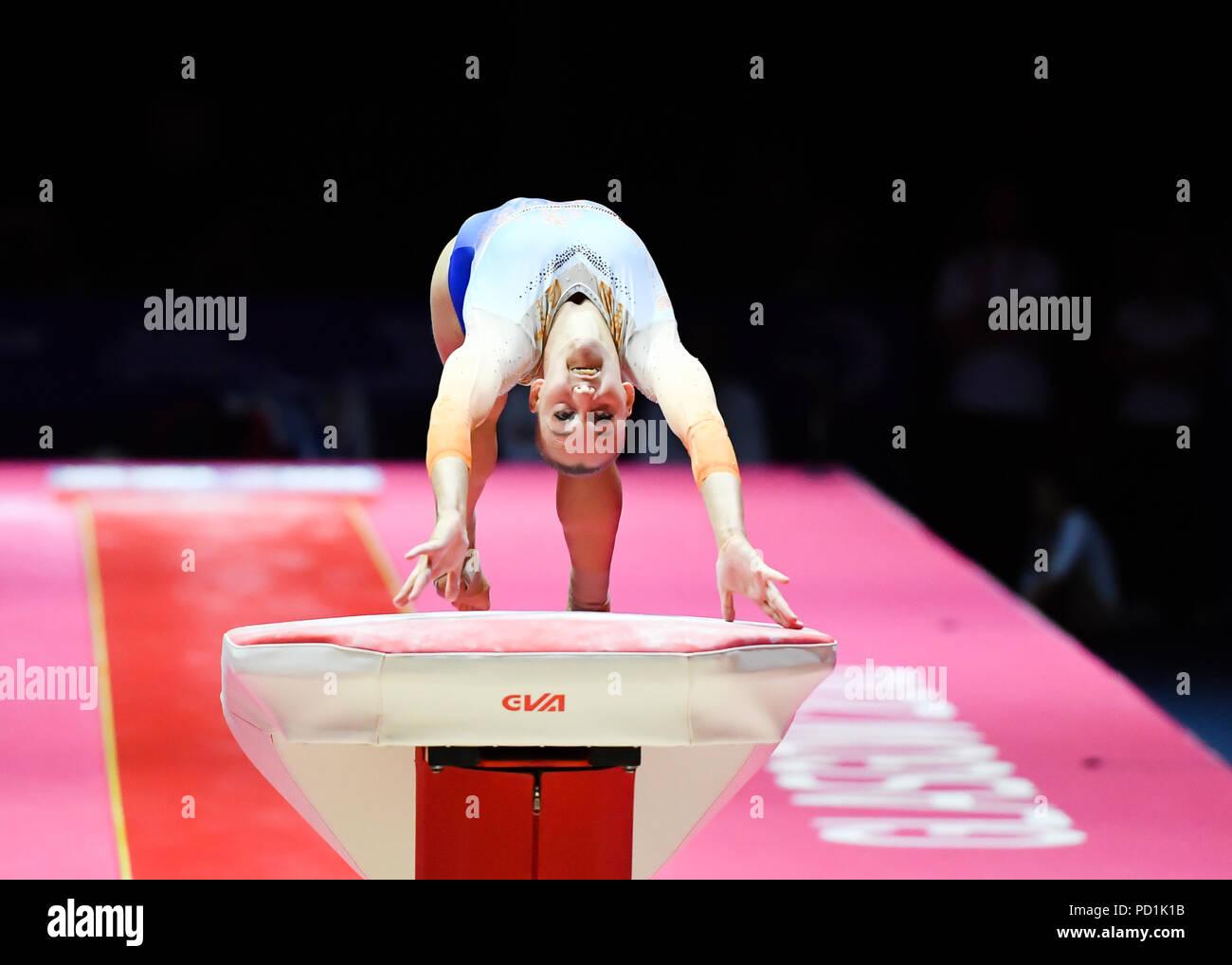 VOLLEMAN Tisha (NED) en concurrence sur la voûte en gymnastique artistique féminine durant la finale de l'appareil European Championships 2018 Glasgow à l'Hydro SSE le dimanche, 05 août 2018. GLASGOW ECOSSE . Credit: Taka G Wu Photo Stock