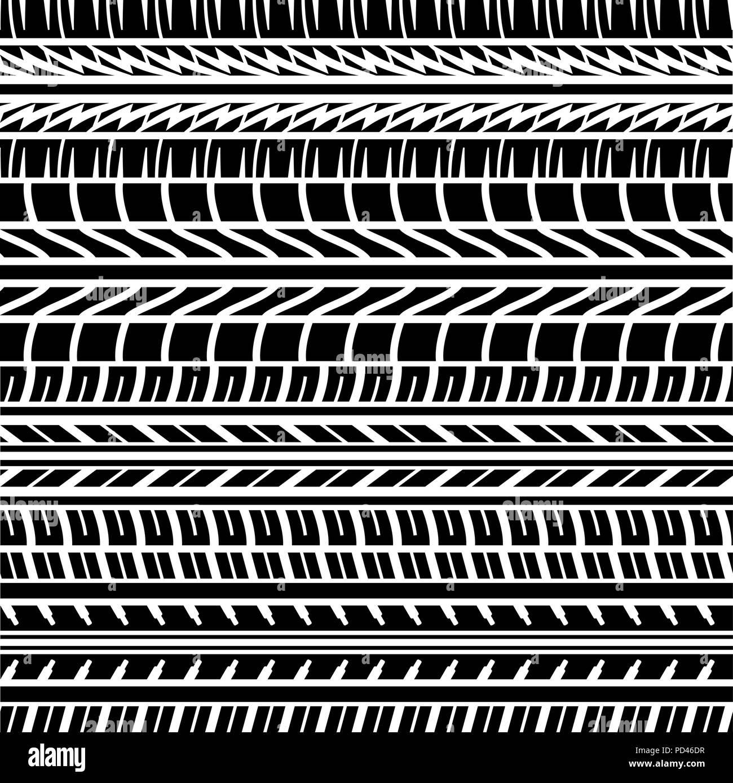 Des traces de pneus noir transparent avec les différents éléments d'arrière-plan Illustration de Vecteur
