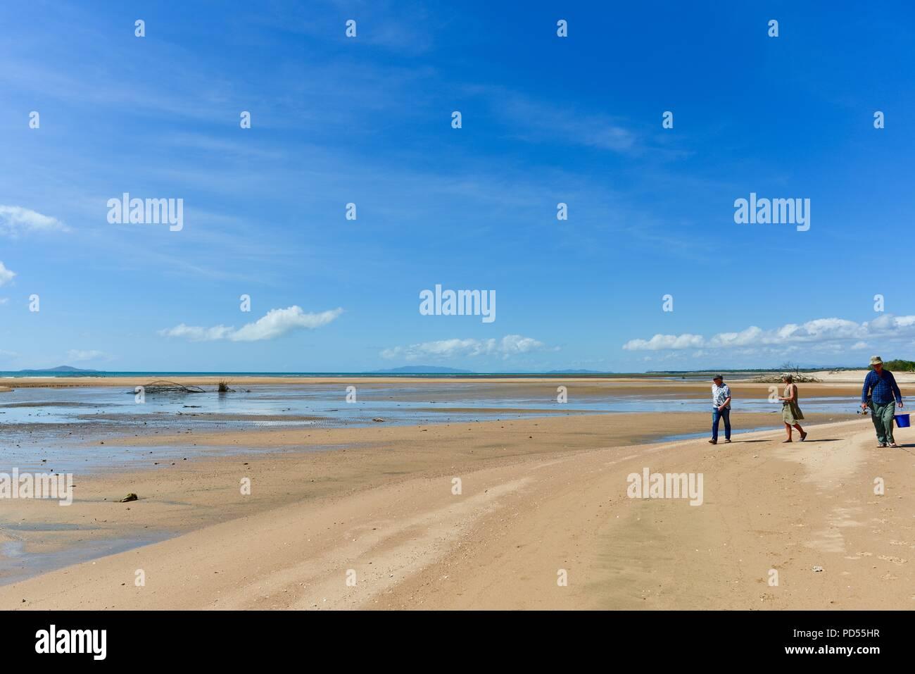 Les gens sur une plage, Toomulla QLD, Australie Photo Stock
