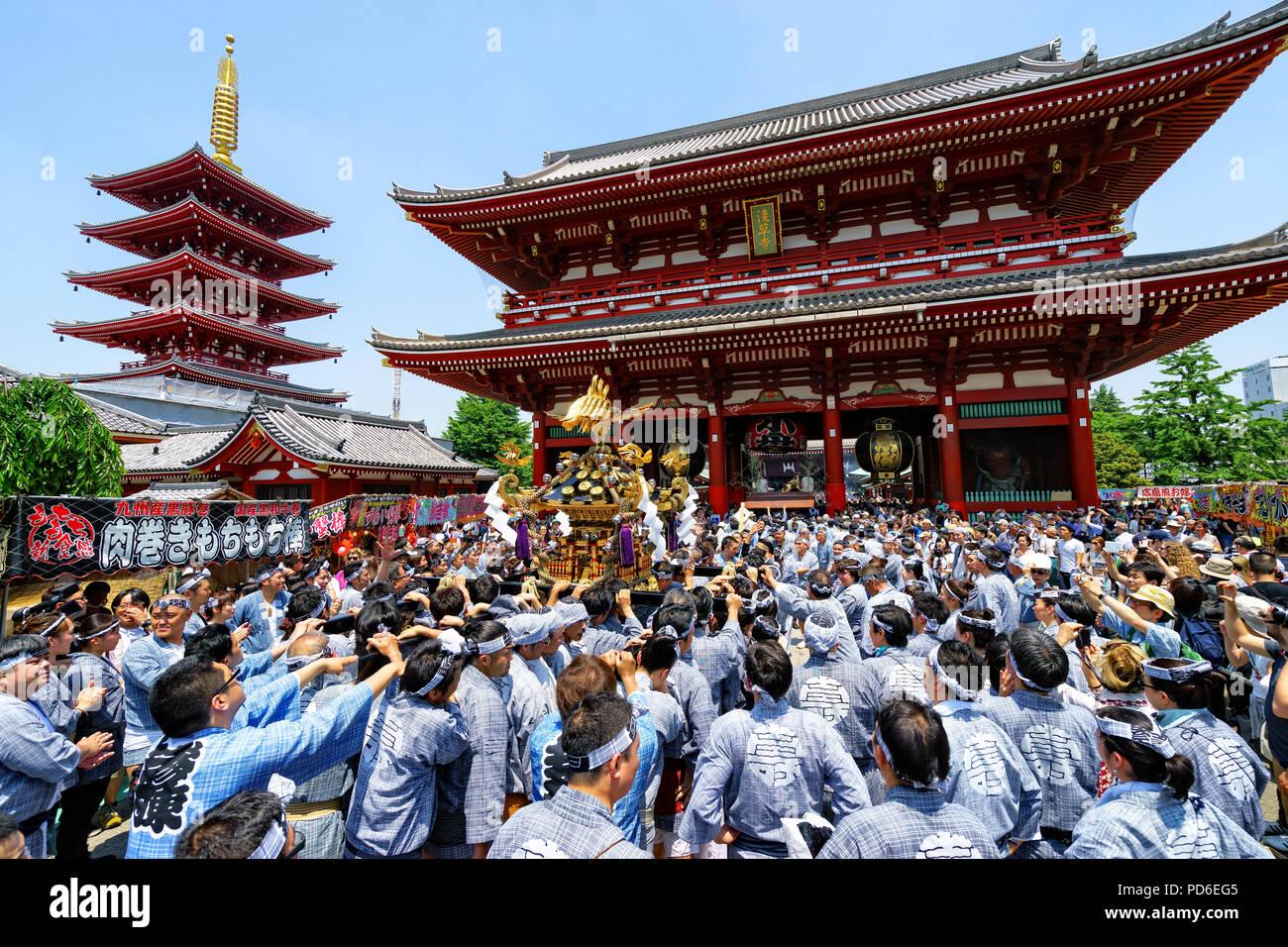 L'île de Honshu, Japon, Tokyo, Kanto, le Sanja matsuri. Photo Stock