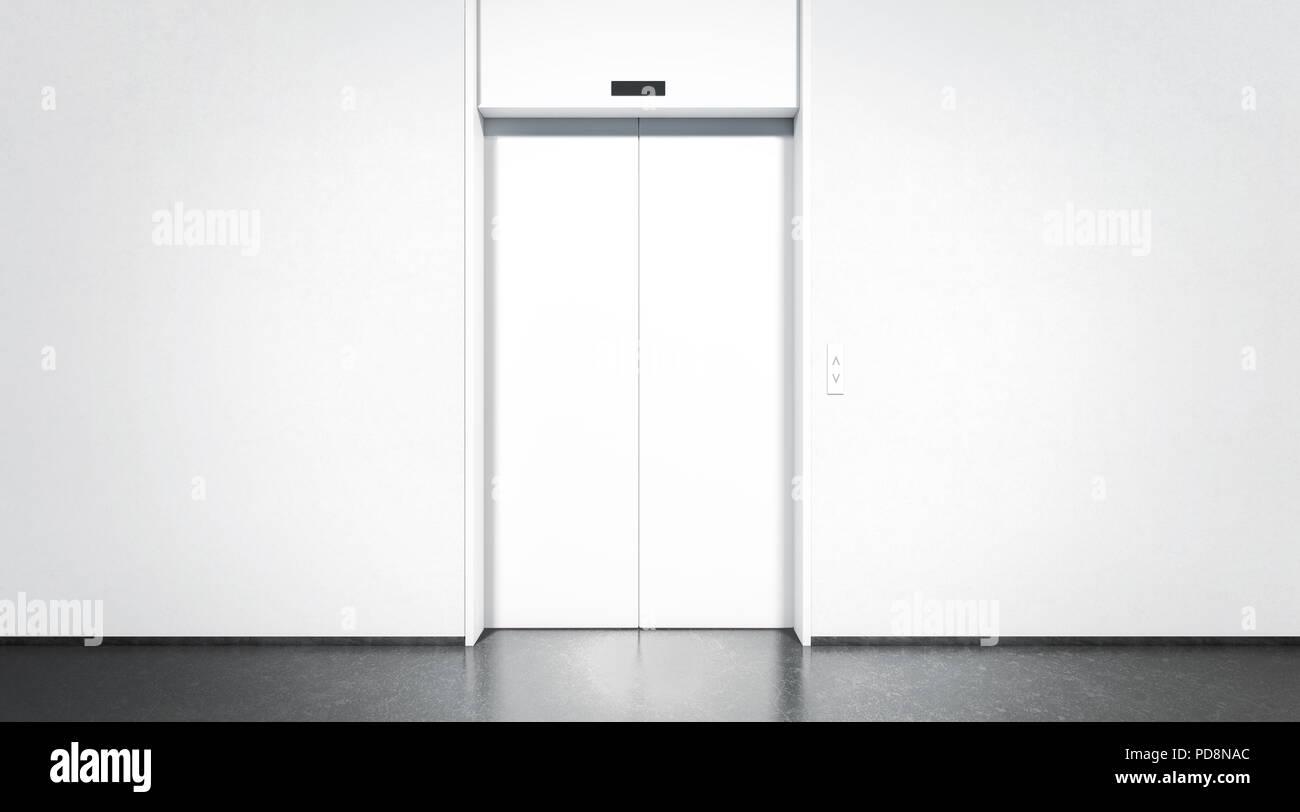 Blanc blanc fermé ascenseur étage bureau dans la maquette de l