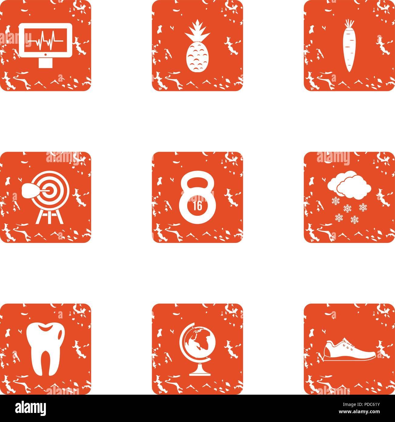 Icons set robuste, grunge style Photo Stock