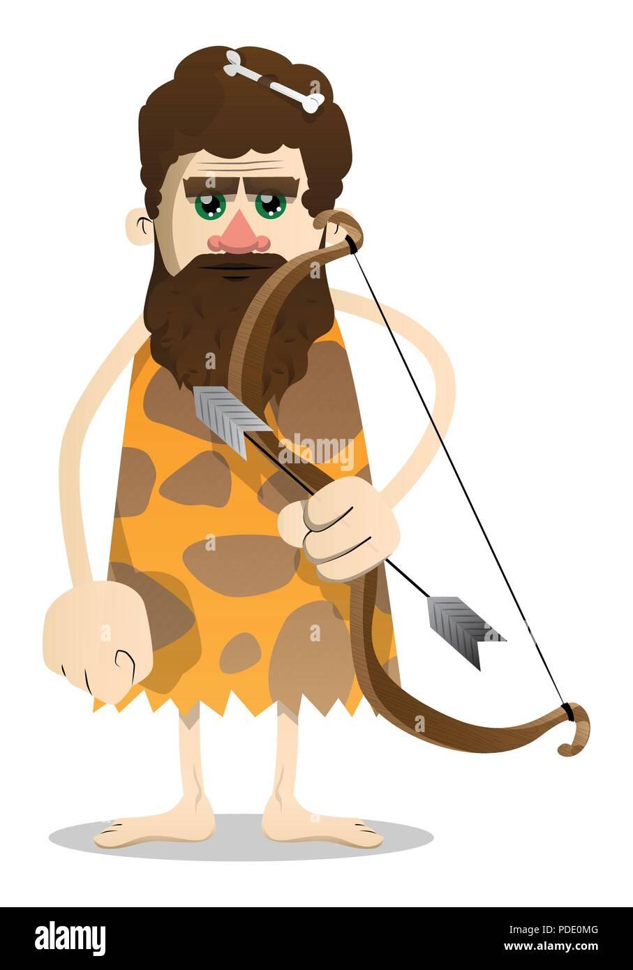 Vieux Dessin Animé Caveman Avec Un Arc Et Une Flèche Vector