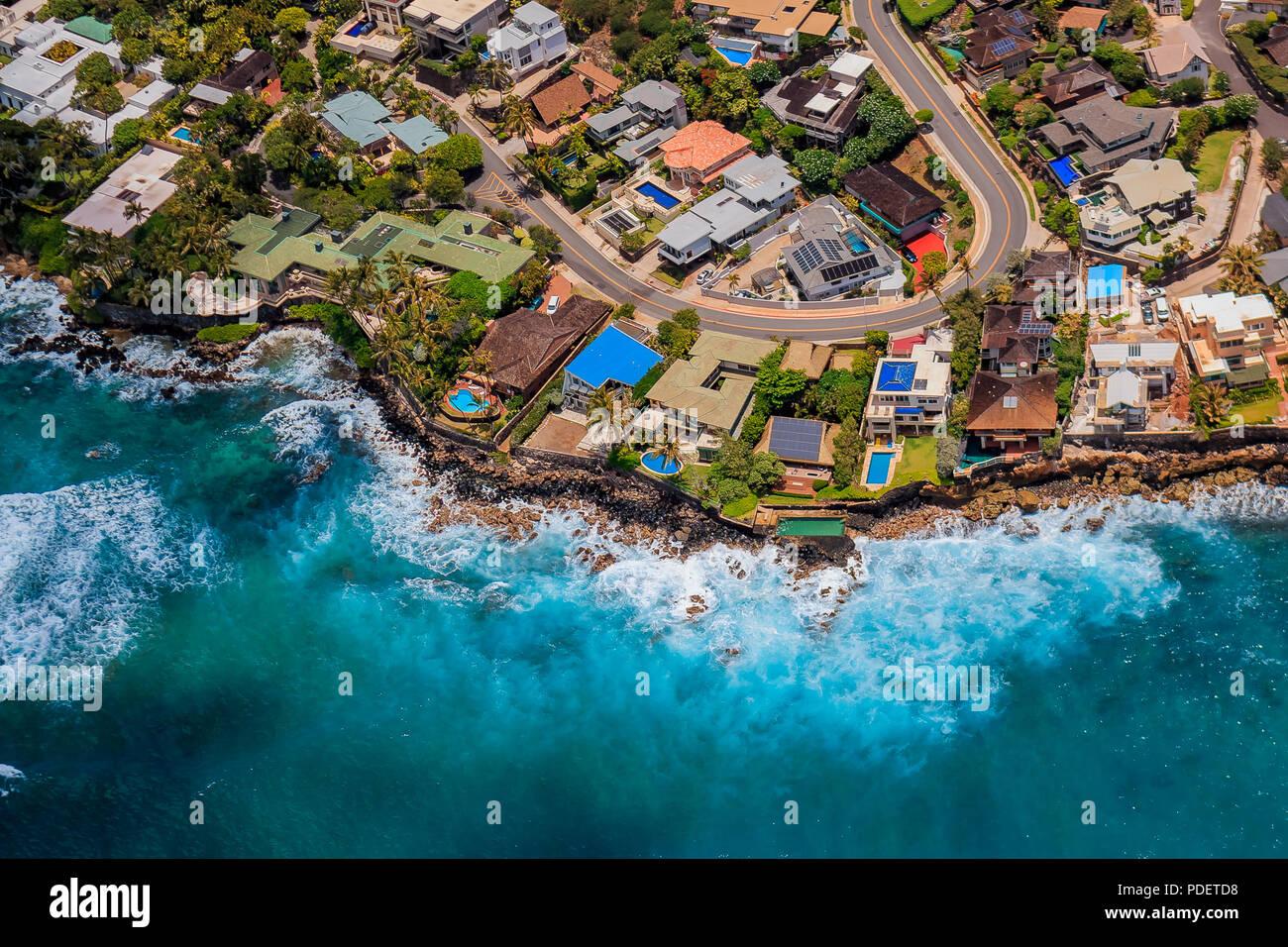 Vue aérienne de la côte d'Honolulu à Hawaii depuis un hélicoptère Photo Stock