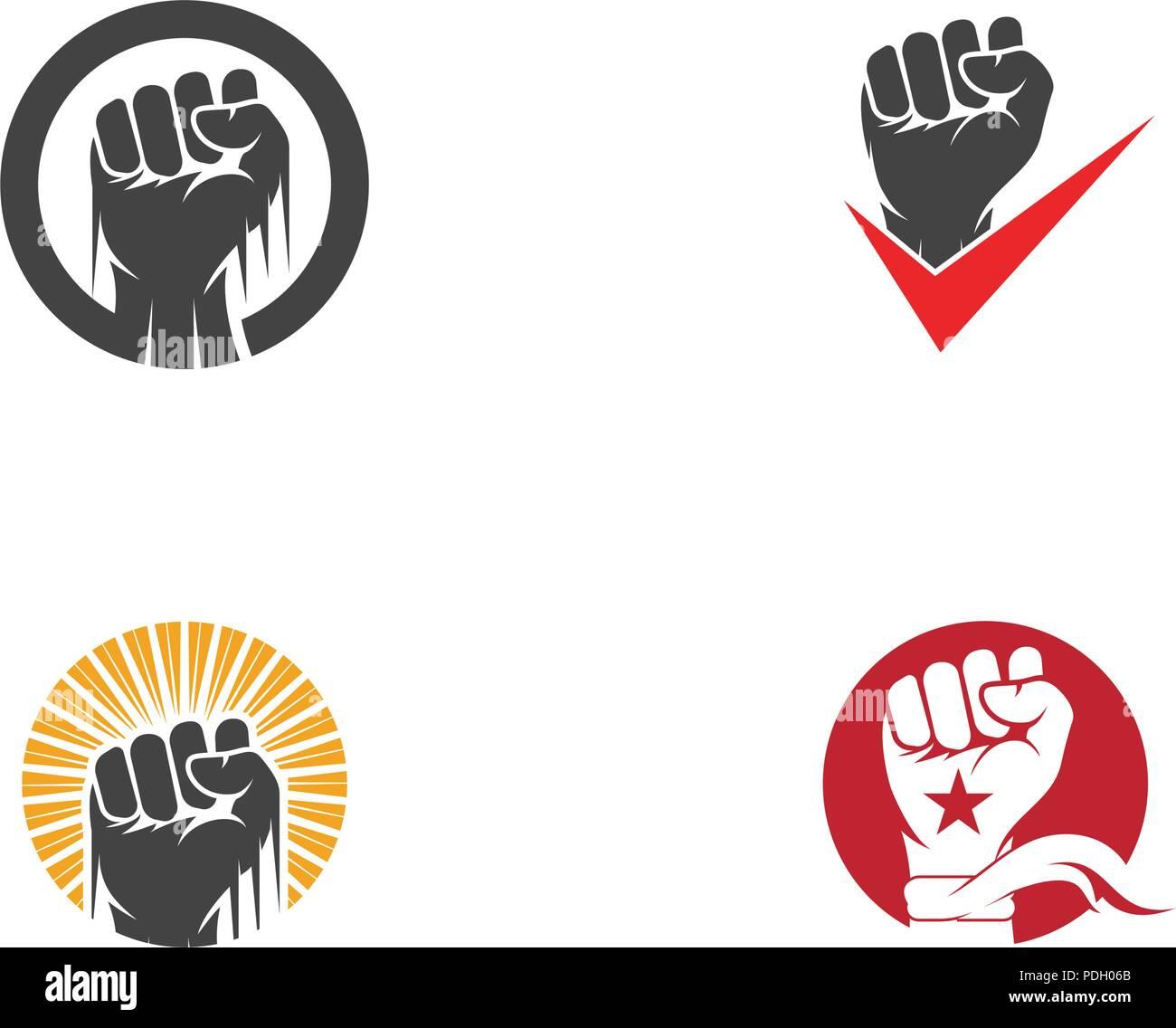 Icône vecteur forte main modèle logo illustration Photo Stock