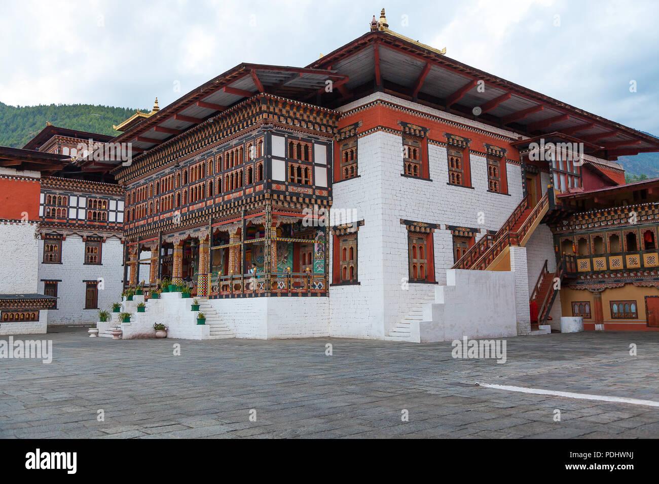 Tashichhoedzong dans la ville de Thimphu, Bhoutan Photo Stock