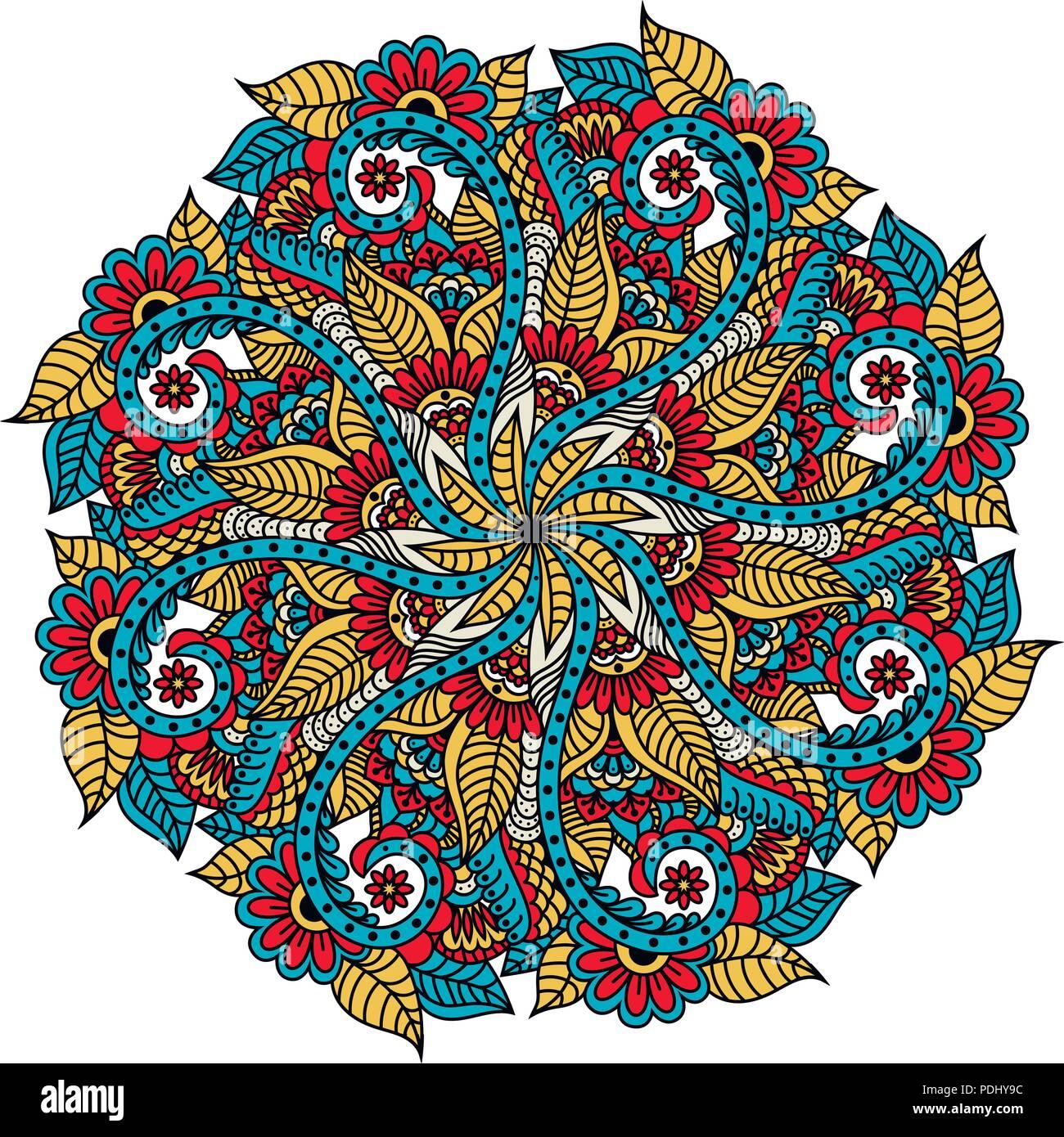 Mandala Toile à La Main Vecteur De Coloriage Pour Adultes