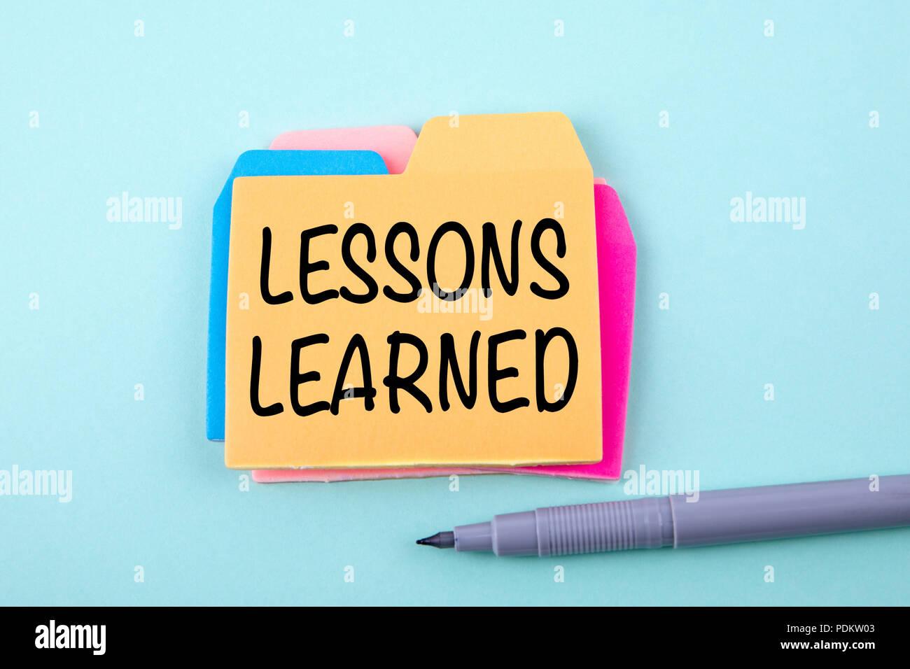 Les enseignements tirés. Concept de l'éducation Photo Stock