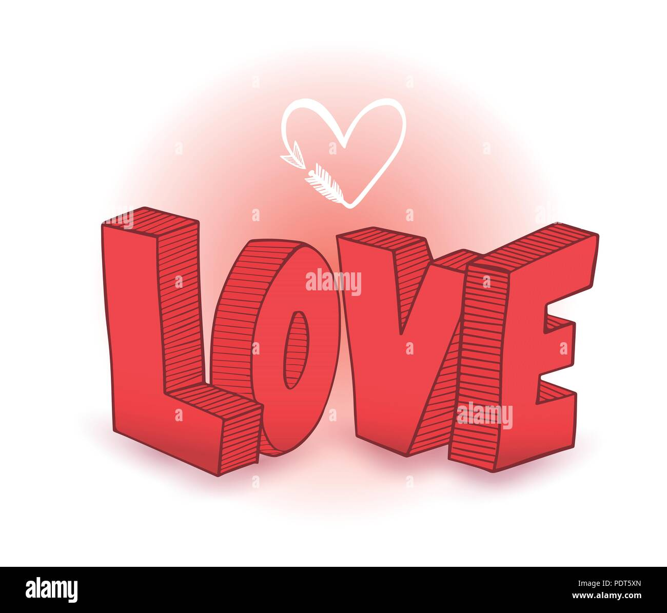 Style 3d dessin amour coeur avec fl che vector illustration de l 39 amour et mariage concept - Dessin de l amour ...