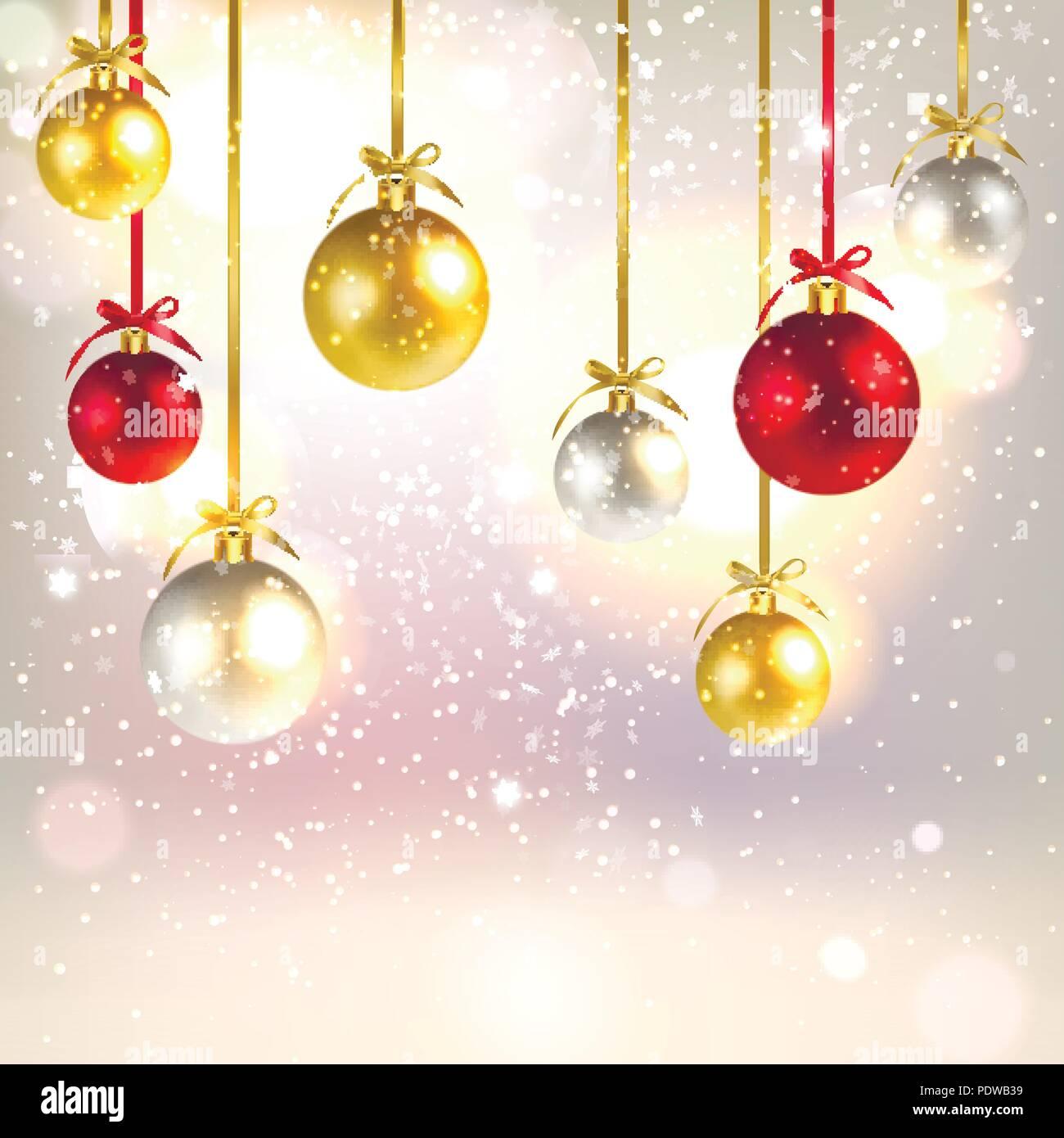 Image Brillante De Noel.Voeux De Noel Arriere Plan Avec Des Boules De Noel