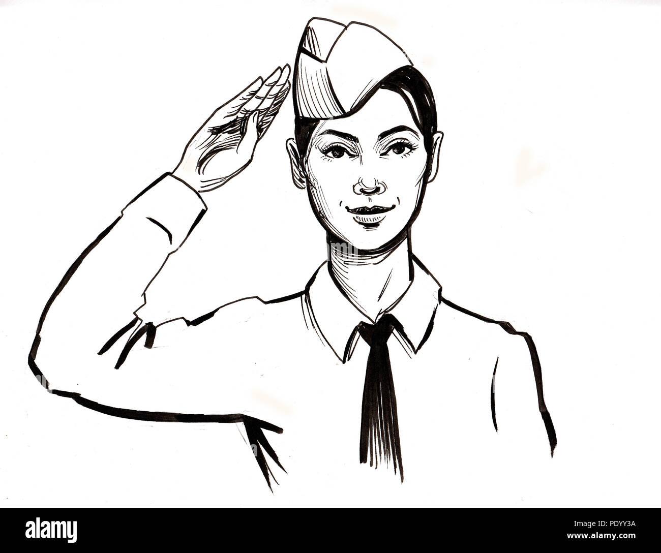 Femme Soldat Dessin Noir Et Blanc Encre Banque Dimages