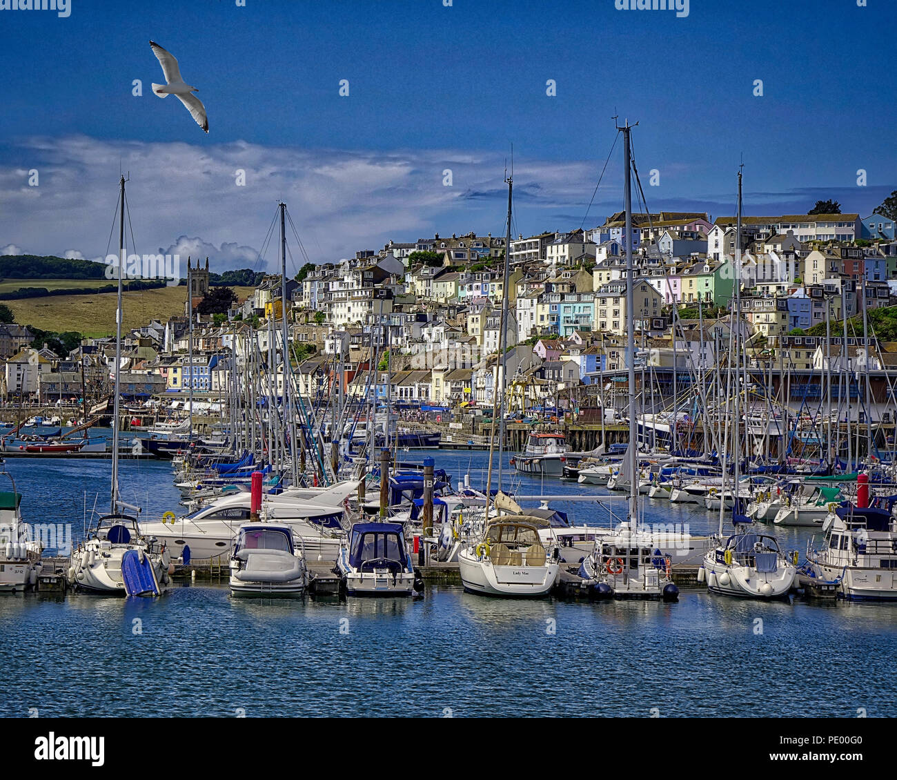 Fr - DEVONSHIRE : Brixham harbour village pittoresque et Photo Stock