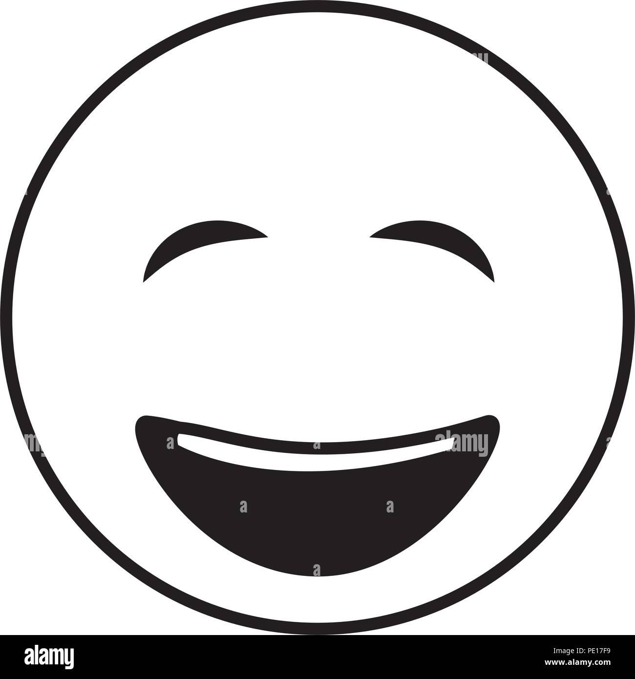Smiley Emoticon Gros Yeux Fermes Heureux Vector Illustration Noir Et Blanc Image Vectorielle Stock Alamy
