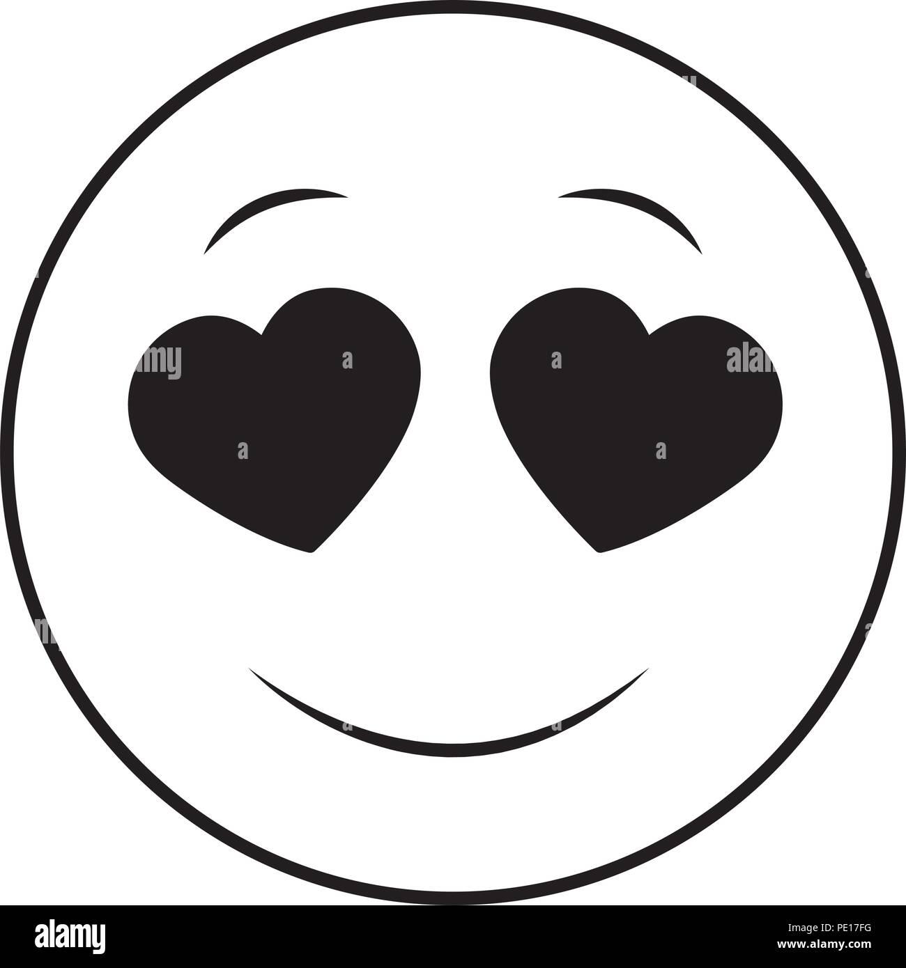 Smiley Emoticon Grand Sentiment Amoureux Vector Illustration