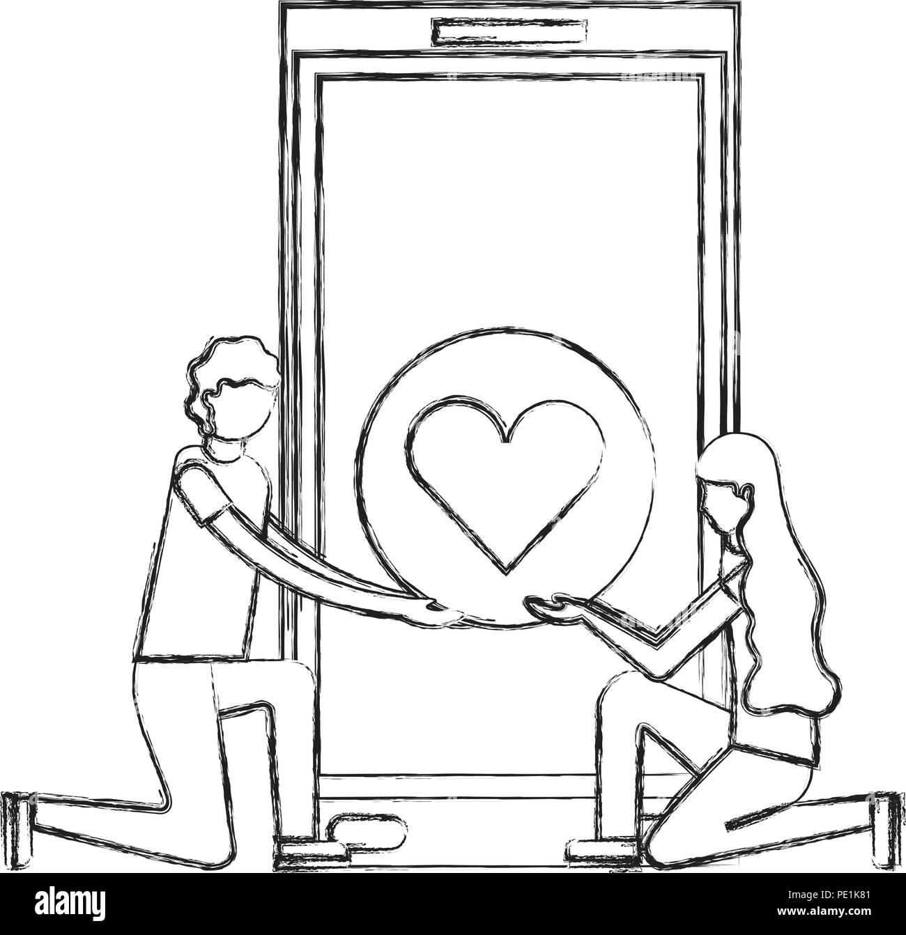 Couple Dans Lamour Romantique Coeur Smartphone Genoux