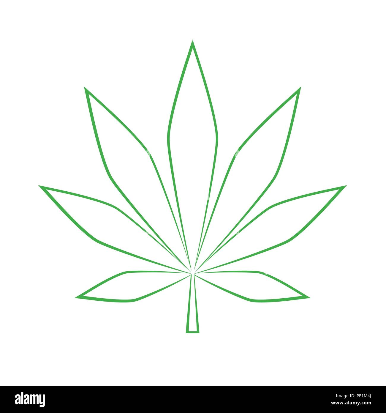 Feuille de cannabis vert simple dessin illustration vecteur eps10 vecteurs et illustration - Feuille cannabis dessin ...