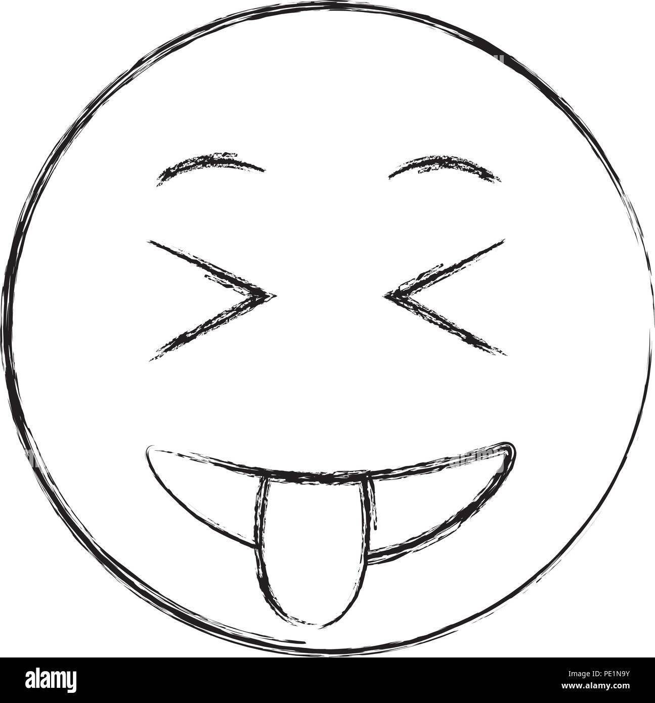 Smileys Emoji Langue Design Dessin à La Main Vecteurs Et