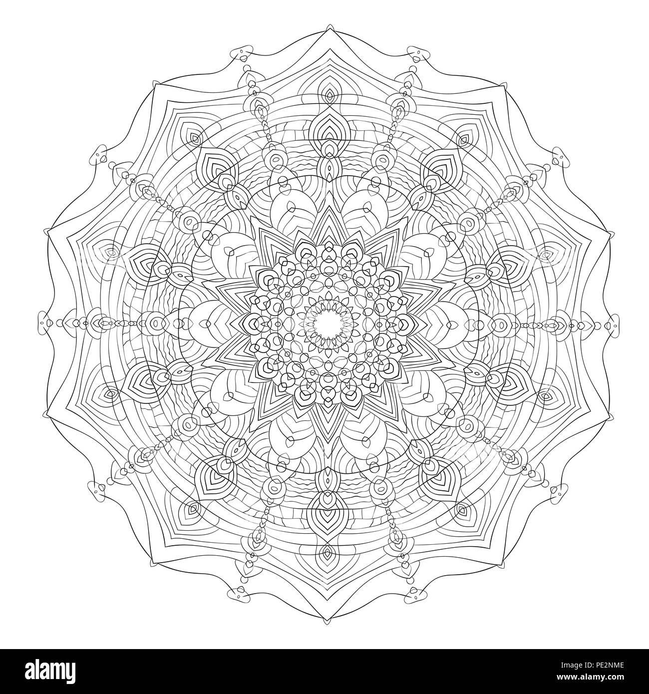 Coloriage Adulte Peinture.Mandala Noir Blanc Vintage Element Decoratif Coloriage Circulaire