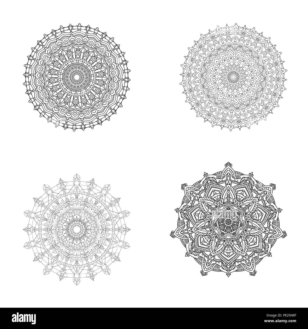 Coloriage Adulte Vintage.Ensemble De Noir Blanc Mandalas Elements De Decoration Vintage