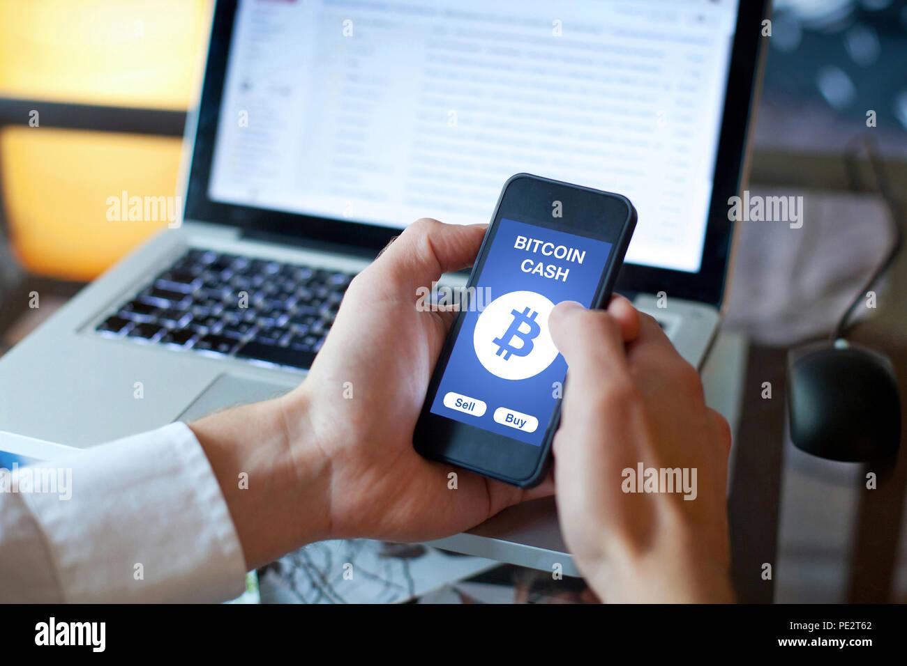 Pièce de monnaie argent bitcoin crypto Photo Stock