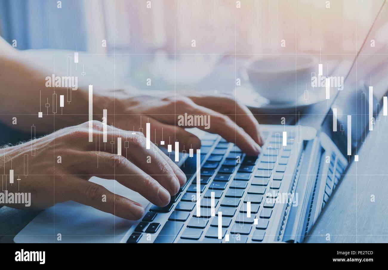 Fintech et financière business analytics, concept graphique chandelier à propos de finances et de commerce des citations, des statistiques KPI Photo Stock