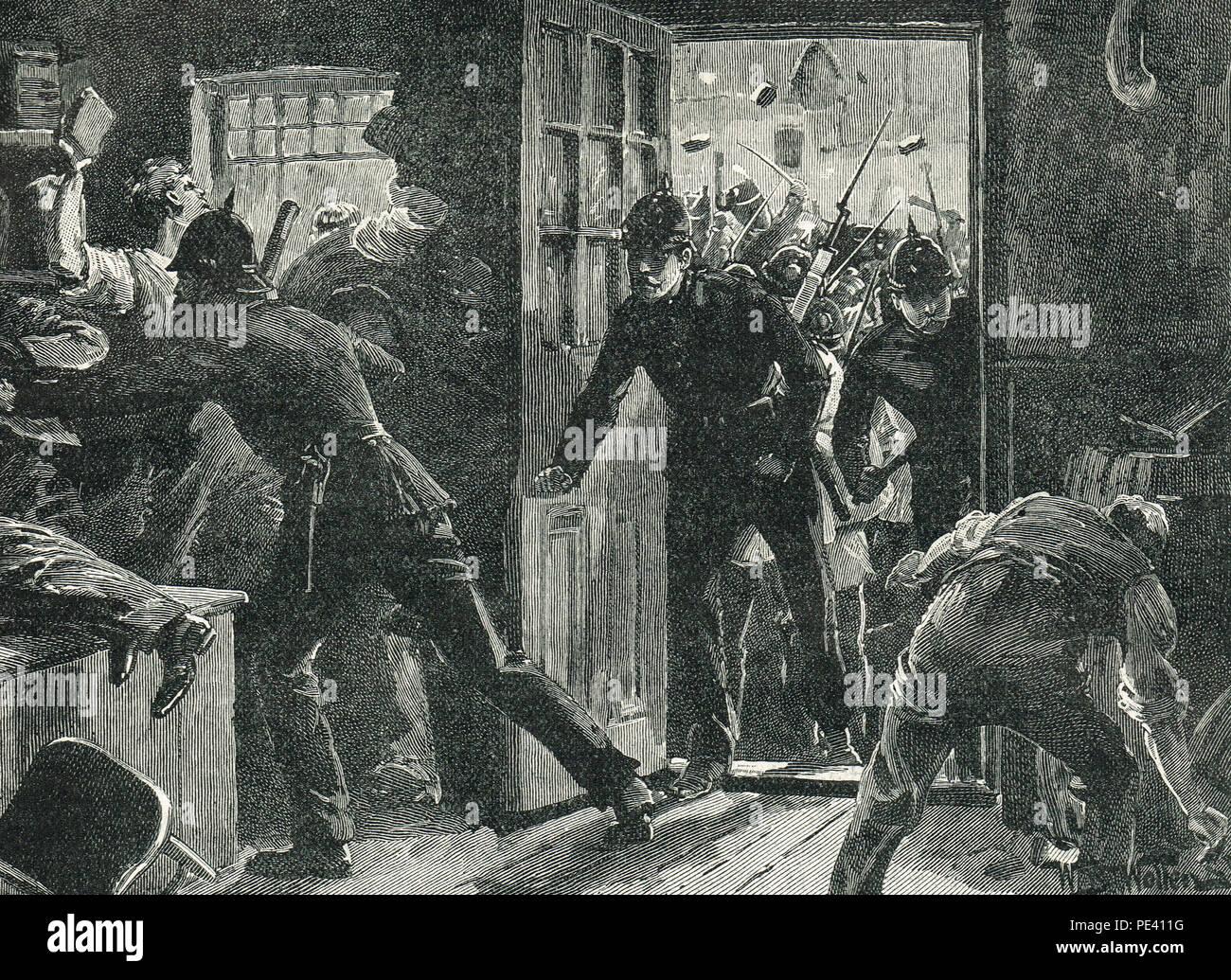 Lutte entre la police et les partisans de la Ligue nationale à Ennis, Irlande, 15 avril 1888 Photo Stock