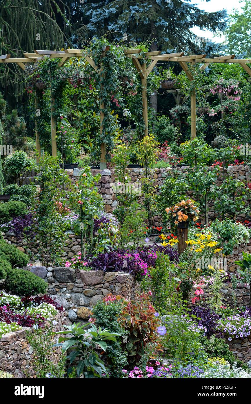 Plantes De Terrasse Arbustes terrasse avec jardin et une pergola avec des plantes et