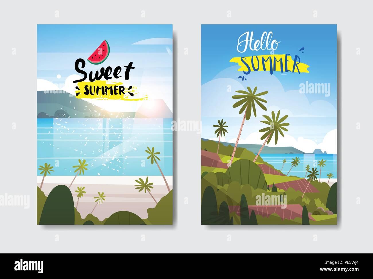 Définir l'été paysage tropical beach sunrise Label Design badge vacances saison lettrage pour les modèles logo carte de voeux invitation affiches et estampes Illustration de Vecteur
