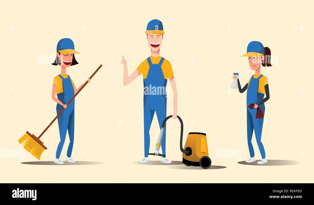 Le personnel du service de nettoyage smiling cartoon characters isolé sur fond jaune. Les hommes et les femmes habillés en uniforme vector illustration dans un style plat Photo Stock
