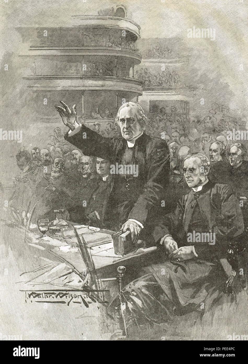 L'archevêque de Canterbury, Edward White Benson, démonstration au Royal Albert Hall, le 16 mai 1893, en opposition à la Loi suspensif gallois Photo Stock