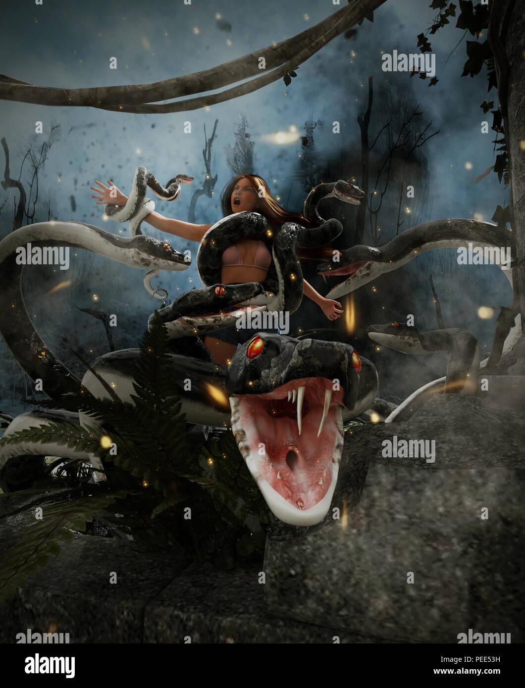 Fantasy Geant Attaque Une Femme Serpent 3d Technique Mixte
