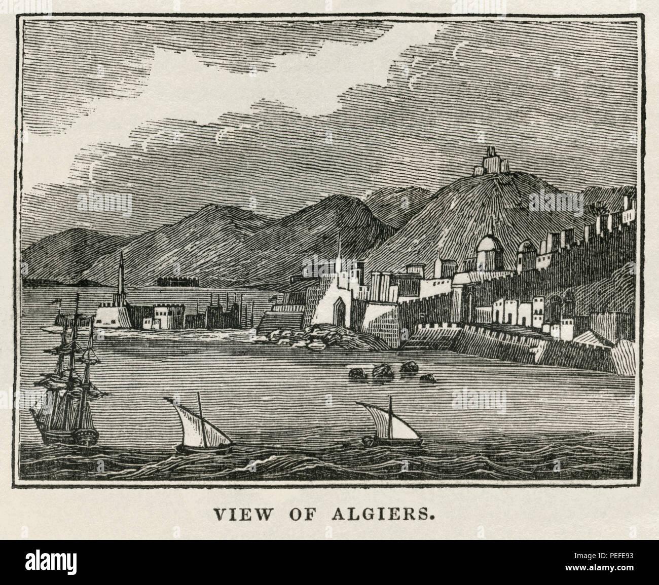 Vue d'Alger, Illustration de l'album, le Cabinet historique, FEU Jeune Éditeur, New Haven, 1834 Photo Stock