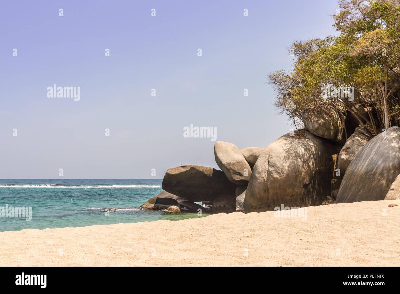Une vue typique du Parc National Tayrona en Colombie Photo Stock